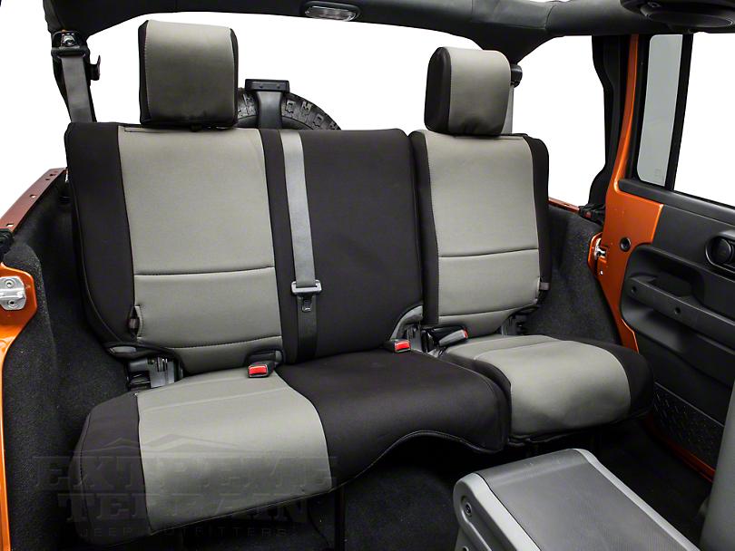 Rugged Ridge Neoprene Rear Seat Cover - Black/Gray (07-18 Wrangler JK 4 Door)