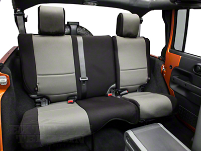 Rugged Ridge Neoprene Rear Seat Cover - Black/Gray (07-18 Jeep Wrangler JK 4 Door)