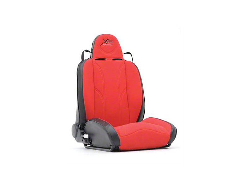 Smittybilt Driver Side XRC Racing Style Recliner Seat - Black/Red (87-06 Jeep Wrangler YJ & TJ)