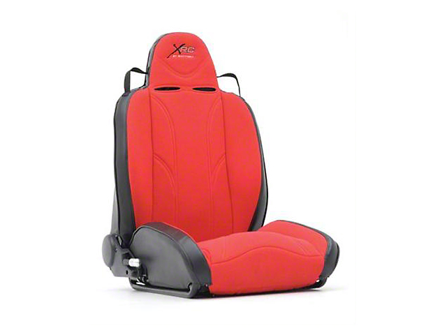 Smittybilt XRC Racing Style Recliner Seat; Driver Side; Black/Red (87-06 Jeep Wrangler YJ & TJ)