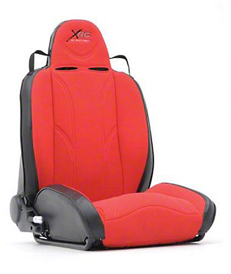 Smittybilt Driver Side XRC Racing Style Recliner Seat - Black/Red (87-06 Wrangler YJ & TJ)
