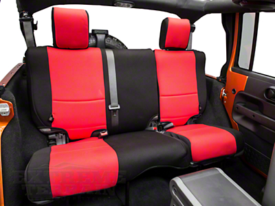 Rugged Ridge Neoprene Rear Seat Cover/Black - Red (07-17 Wrangler JK 4 Door)