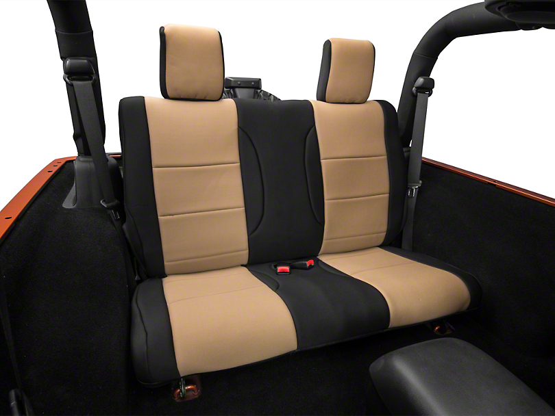 Rugged Ridge Neoprene Rear Seat Cover - Black/Tan (07-18 Jeep Wrangler JK 2 Door)