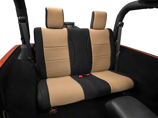 Rugged Ridge Neoprene Rear Seat Cover; Black/Tan (07-18 Jeep Wrangler JK 2 Door)