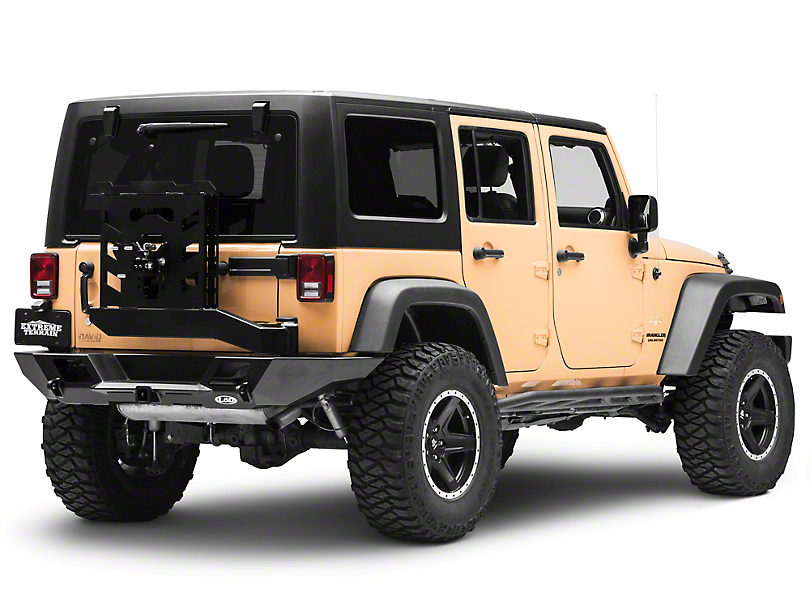 LoD Offroad Destroyer Full-Width Rear Bumper w/ Tire Carrier - Textured Black (07-18 Jeep Wrangler JK)