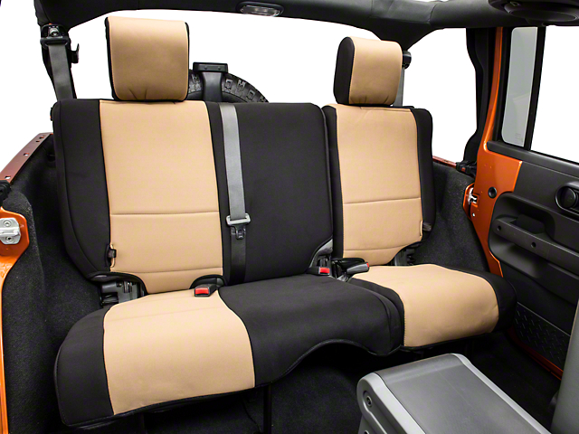 Rugged Ridge Neoprene Rear Seat Cover - Black/Tan (07-18 Jeep Wrangler JK 4 Door)