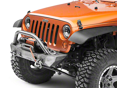 LoD Offroad Destroyer Shorty Front Bumper w/ Bull Bar - Bare Steel (07-18 Wrangler JK)