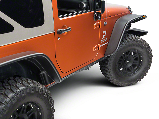 Rugged Ridge Body Armor Rocker Guards - Black (07-18 Jeep Wrangler JK 2 Door)