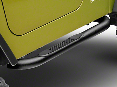 RT Off-Road 3 in. Tube Side Step Bars - Textured Black (87-06 Jeep Wrangler YJ & TJ, Excluding Unlimited)