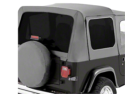 RT Off-Road Complete Soft Top w/ Clear Windows - Gray Denim (87-95 Jeep Wrangler YJ w/ Half Steel Doors)