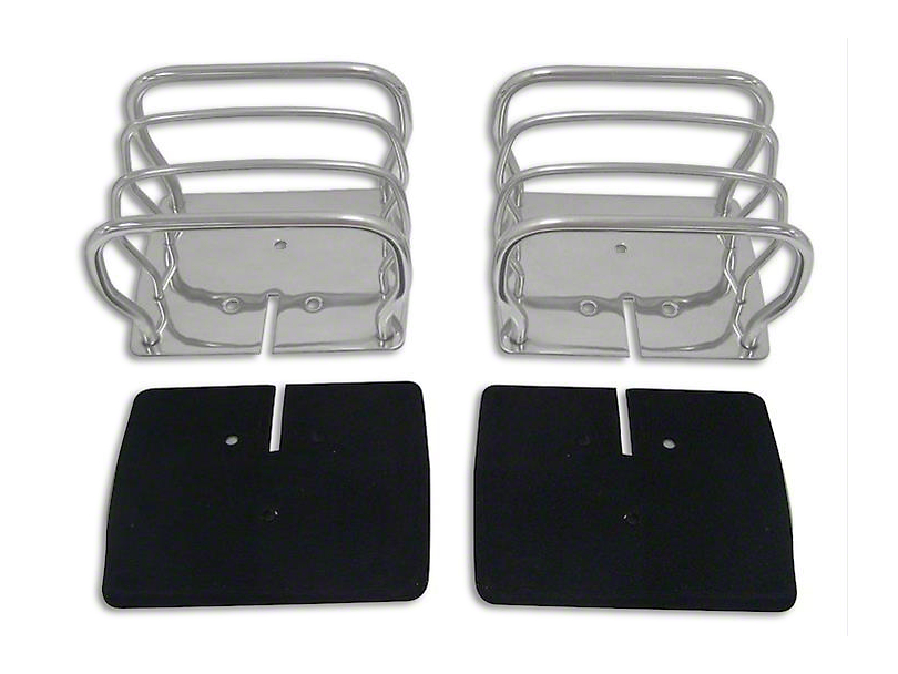 Euro Style Tail Light Guards; Stainless Steel (87-06 Jeep Wrangler YJ & TJ)