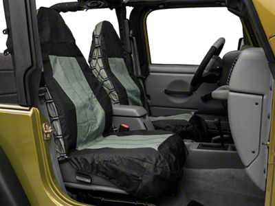 RT Off-Road Front Seat Covers - Black/Gray (87-02 Jeep Wrangler YJ & TJ)