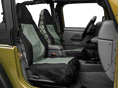 RT Off-Road Front Seat Covers - Black/Gray (87-02 Wrangler YJ & TJ)