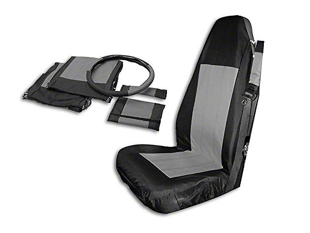 Crown Automotive Front Seat Covers - Black/Gray (03-06 Wrangler TJ)