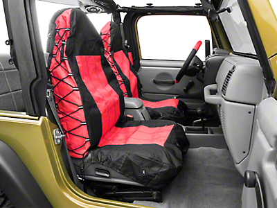 RT Off-Road Front Seat Covers - Black/Red (87-02 Wrangler YJ & TJ)