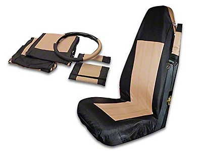 RT Off-Road Front Seat Covers - Black/Tan (87-02 Wrangler YJ & TJ)