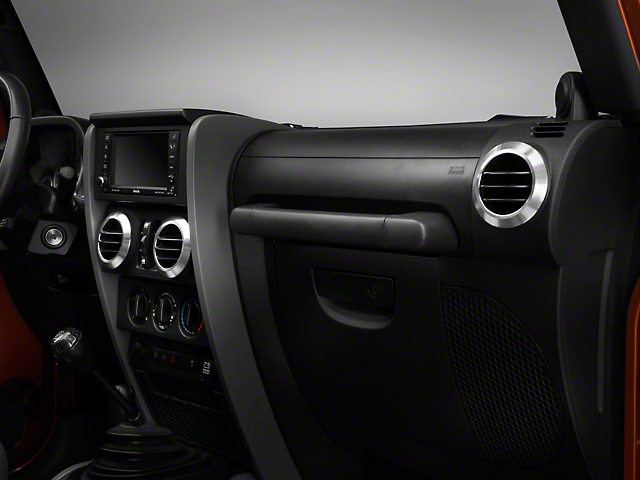 Rugged Ridge A/C Vent Bezels; Brushed Aluminum (07-10 Jeep Wrangler JK)