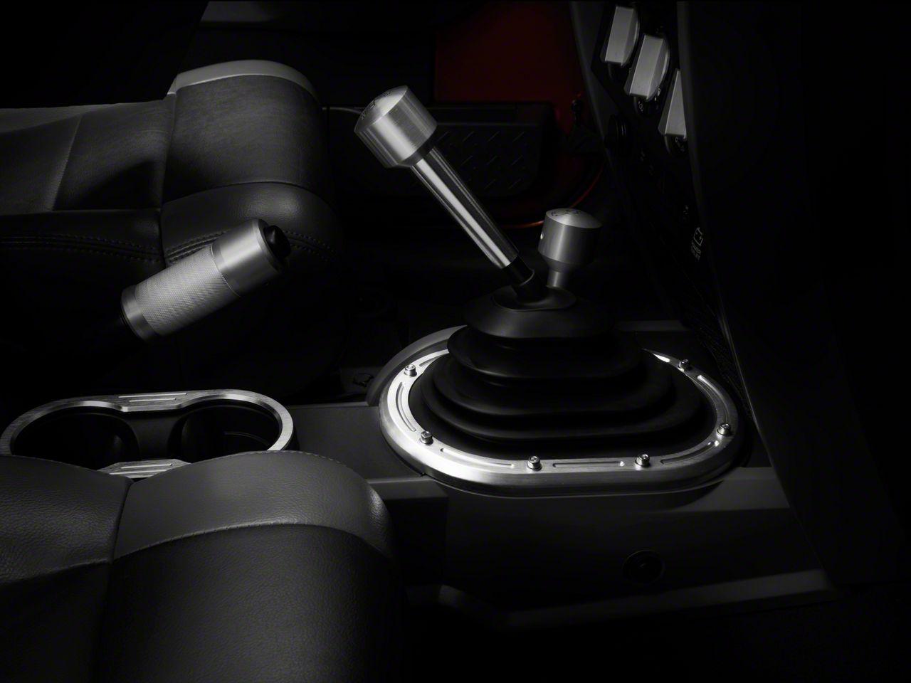 Rugged Ridge Billet Aluminum Shifter Bezel - Brushed Silver - Manual Transmission (07-10 Jeep Wrangler JK)