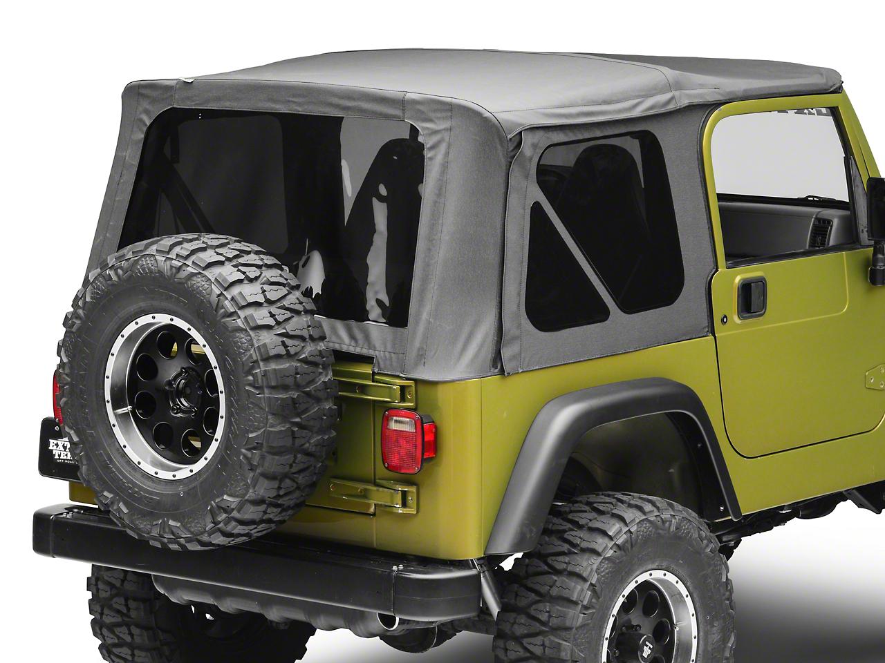 RT Off-Road OEM Replacement Soft Top w/ Tinted Windows & Door Skins - Black Denim (97-06 Wrangler TJ w/ Full Steel Doors)