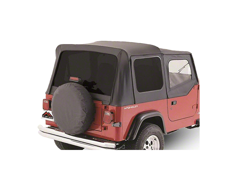 Crown Automotive OEM Replacement Soft Top w/ Tinted Windows & Door Skins - Black Denim (88-95 Wrangler YJ w/ Soft Upper Doors)