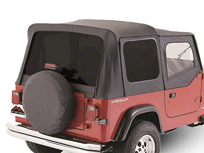 OEM Replacement Soft Top w/ Tinted Windows & Door Skins - Black Denim (88-95 Wrangler YJ w/ Soft Upper Doors)