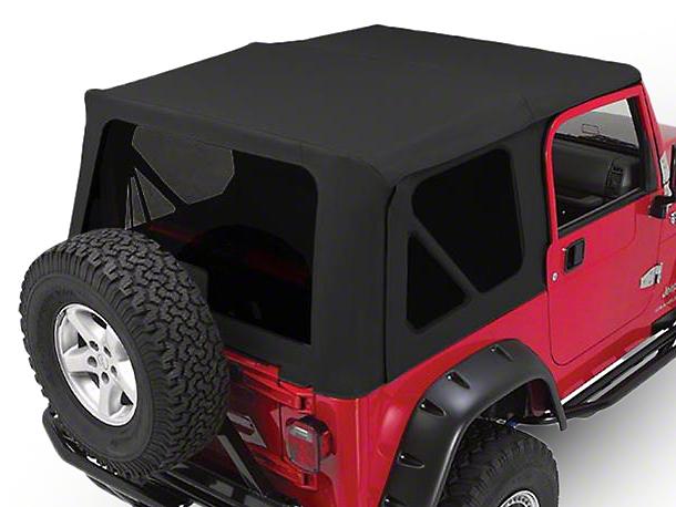 RT Off-Road OEM Replacement Soft Top w/ Tinted Windows & Door Skins - Black Diamond (97-06 Jeep Wrangler TJ w/ Full Steel Doors, Excluding Unlimited)