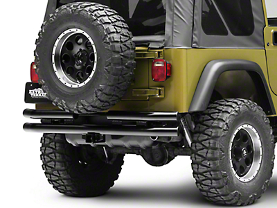 RT Off-Road Rear Double Tube Bumper - Black (87-06 Jeep Wrangler YJ & TJ)