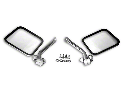 RT Off-Road Stainless Steel Side Windshield Mirror Kit - Pair (97-06 Jeep Wrangler TJ)