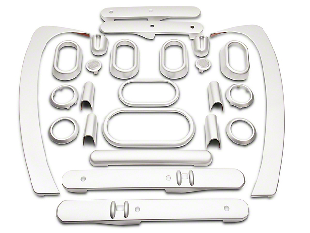 Interior Trim Kit; Brushed Silver (07-10 Jeep Wrangler JK 4 Door w/ Power Windows & Automatic Transmission)