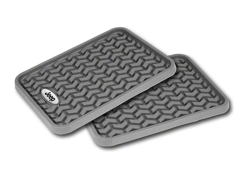 Rugged Ridge All-Terrain Rear Floor Mats w/ Jeep Logo - Gray (04-06 Jeep Wrangler TJ Unlimited; 07-18 Jeep Wrangler JK 4 Door; 18-20 Jeep Wrangler JL 4 Door)