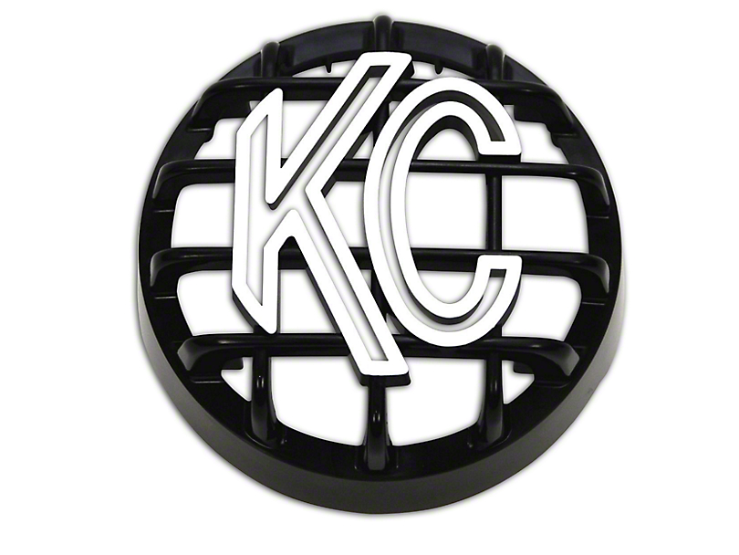 KC HiLiTES 4 in. Round Stone Guard for Rally 400 - Black w/ White KC Logo