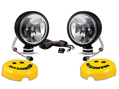 KC HiLiTES 6 in. Black Gravity Daylight LED Round Light - Driving Beam - Pair (87-18 Wrangler YJ, TJ, JK & JL)