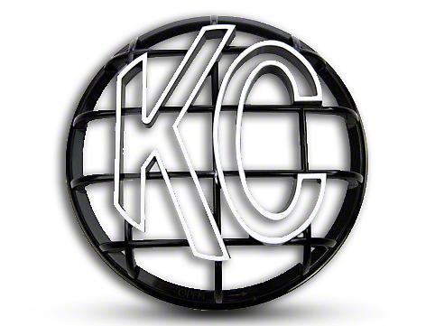 KC HiLiTES 6 in. Round Stone Guard for Apollo Series - Black w/ White KC Logo (87-18 Jeep Wrangler YJ, TJ, JK & JL)