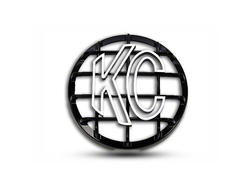 KC HiLiTES 6 in. Round Stone Guard for Daylighter & Slimlite - Black w/ White KC Logo