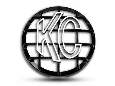 KC HiLiTES 6 in. Round Stone Guard for Daylighter & Slimlite - Black w/ White KC Logo (87-18 Jeep Wrangler YJ, TJ, JK & JL)