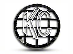 KC HiLiTES 6 in. Round Stone Guard for Daylighter & Slimlite - Black w/ White KC Logo (87-19 Jeep Wrangler YJ, TJ, JK & JL)