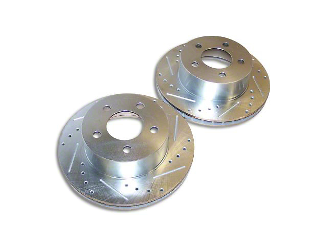 Drilled & Slotted Brake Rotors - Front Pair (90-06 Jeep Wrangler YJ & TJ)