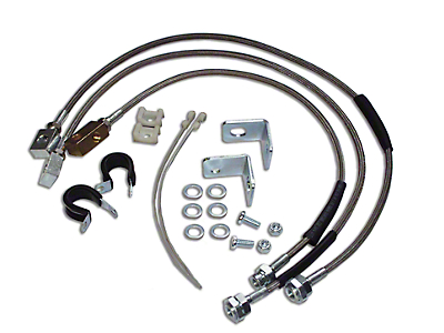 RT Off-Road Stainless Steel Brake Hose Kit for 0-6 in. Lift (87-06 Jeep Wrangler YJ & TJ)
