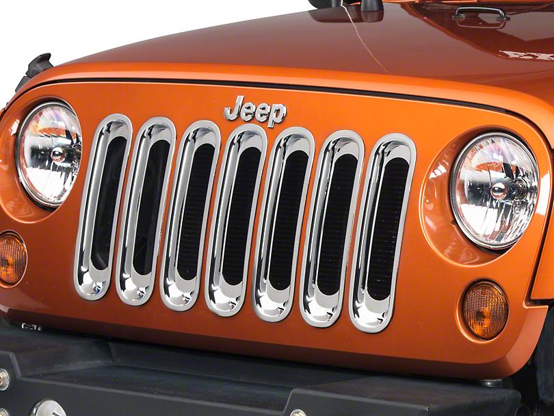 Rugged Ridge Grille Inserts - Chrome (07-18 Jeep Wrangler JK)