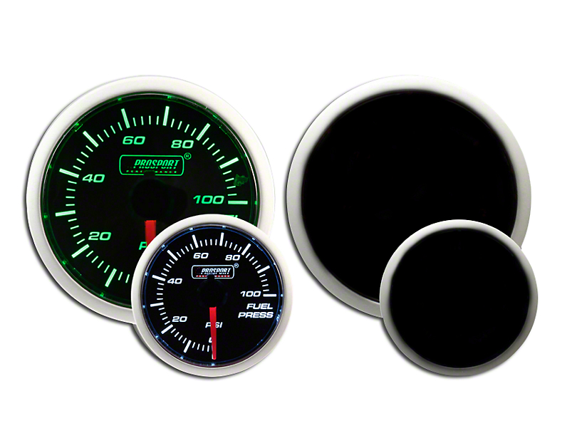 Prosport Dual Color Fuel Pressure Gauge - Electrical - Green/White (Universal Fitment)