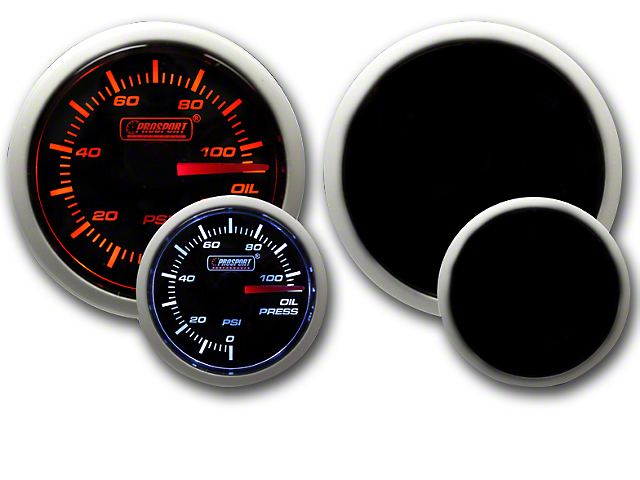 Prosport Dual Color Oil Pressure Gauge - Electrical Amber/White (Universal Fitment)