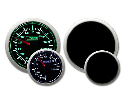 Prosport Dual Color Volt Gauge - Electrical - Green/White (97-18 Wrangler TJ & JK)