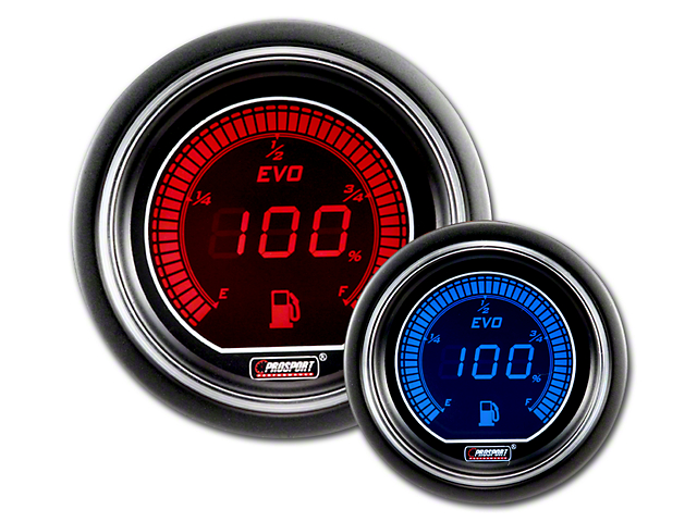 Prosport 52mm EVO Series Fuel Level Gauge; Electrical; Blue/Red (Universal Fitment)