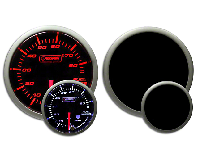 Prosport 52mm Premium Series Fuel Pressure Gauge; Electrical; Amber/White (Universal Fitment)