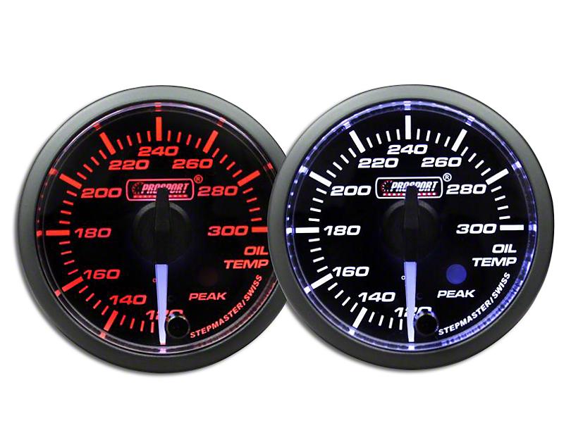 Prosport 52mm Premium Series White Pointer Oil Temperature Gauge; Electrical; Amber/White (Universal Fitment)