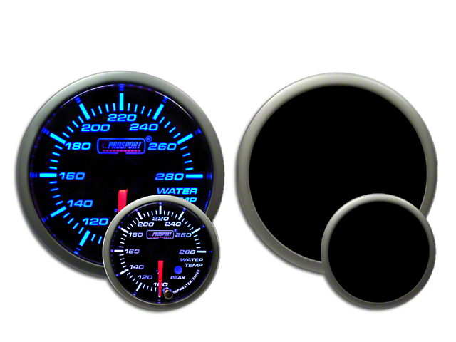 Prosport 52mm Premium Series Water Temperature Gauge; Electrical; Blue/White (Universal Fitment)