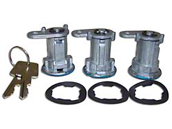 Door Lock Cylinder Kit; 3 Locks (87-90 Jeep Wrangler YJ)