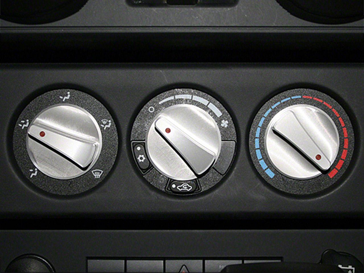 Rugged Ridge Billet Aluminum Climate Control Knob Set w/ Red Indicators (07-10 Jeep Wrangler JK)