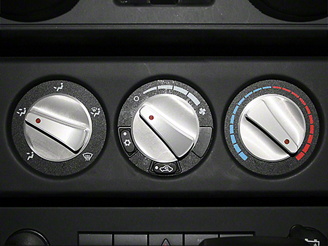 Rugged Ridge Billet Aluminum Climate Control Knob Set w/ Red Indicators (07-10 Jeep Wrangler JK)