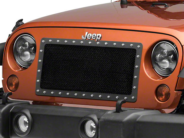 RedRock 4x4 Wire Mesh Cutout Grille with Rivets; Black (07-18 Jeep Wrangler JK)